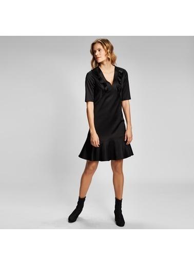Vekem-Limited Edition Derin V Yakalı Kısa Kol Elbise Siyah
